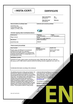 GIGAPIPE PP EN 13476-3 Sertifikāts ENG (INSTA-CERT)