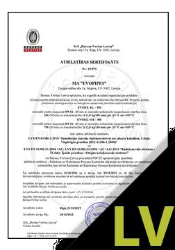 EVOEL SL, SM un SH-UV Sertifikāts LV
