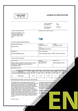 Electrofusion fittings EN 12201 Certificate ENG (INSTA-CERT)