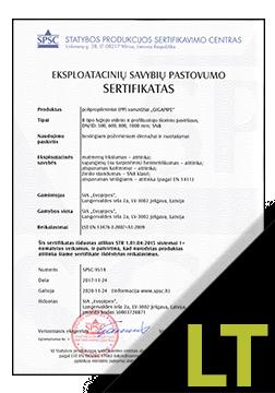 EVOAQUA, ULTRASTRESS Sertifikatas LT (SPSC)