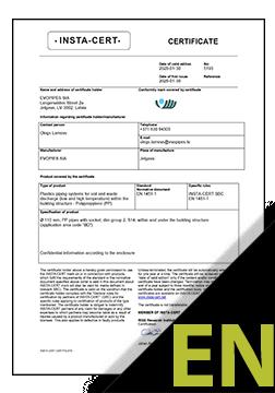RIGID MONO PP EN 1451-1 Certificate ENG (INSTA-CERT)