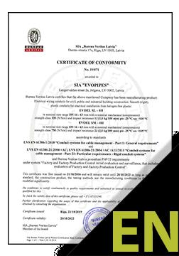 EVODRAIN Certificate ENG
