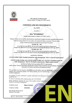 EVOEL SL, SM and SH-UV Certificate ENG