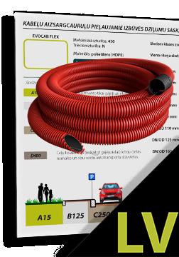 EVOCAB FLEX N450 cauruļu minimālie pieļaujamie izbūves dziļumi